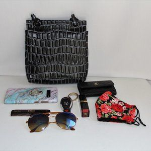 Daniella Lehavi Croc Embossed Black Leather Bag